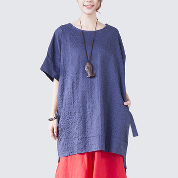 Women Lacing Loose Casual Short Sleeve Blue Shirt - Buykud