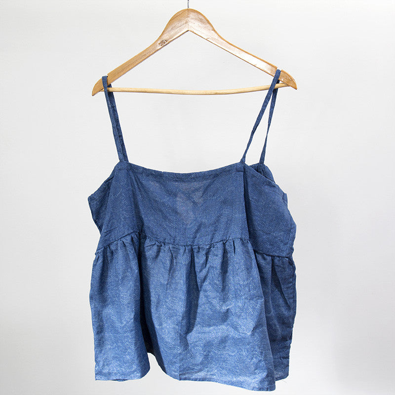 Women Printing Casual Loose Blue Vest - Buykud