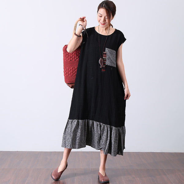 Women Casual Splicing Applique Sleeveless Dress - Buykud