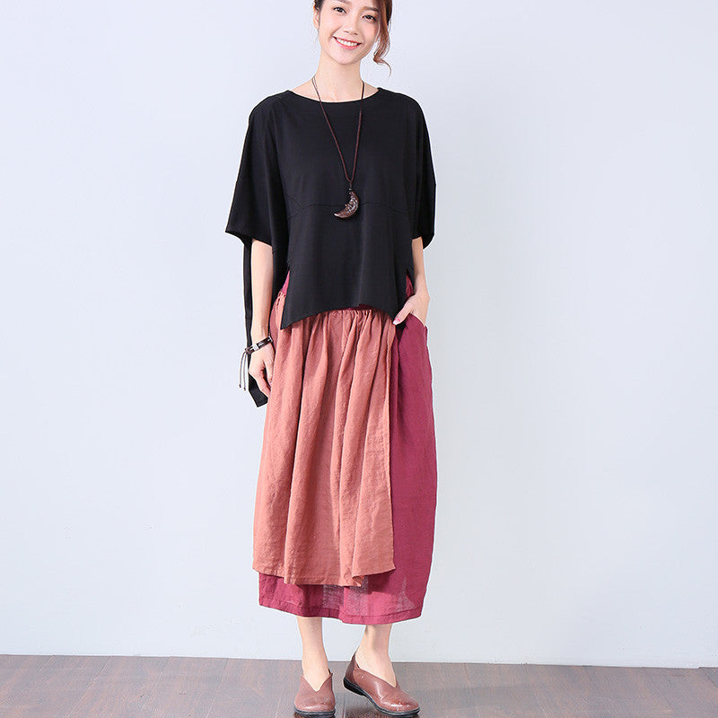 Irregular Summer Loose Women Casual Splicing Black Shirt - Buykud