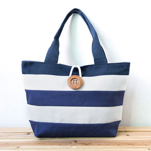 Women Canvas Zipper Stripe Button Shoulder Bag Handbag - Buykud