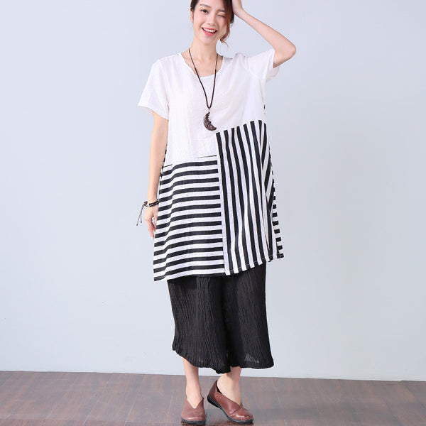 Splicing Stripe Women Round Neck Summer Dress - Buykud