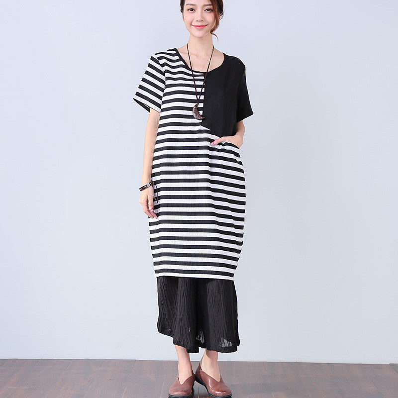 Stripe Splicing Pocket Women Casual Black Dress - Buykud