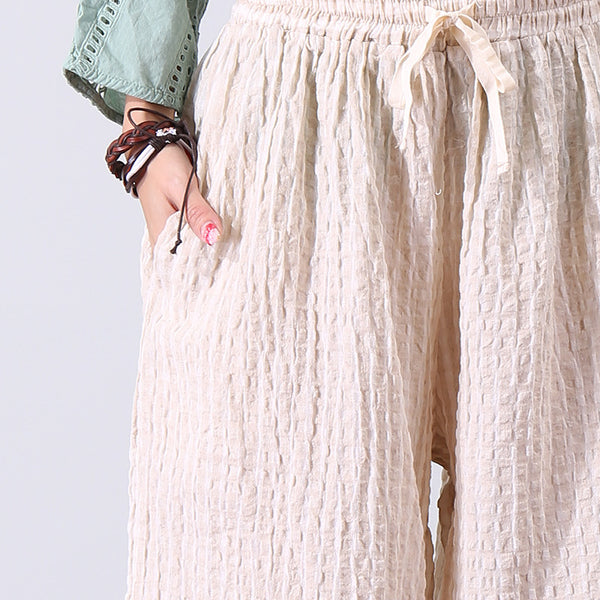 Casual Linen Women Beige Lattice Wide Leg Pants - Buykud