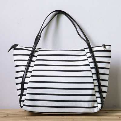Women White And Black Stripe Casual Zipper Handbag Shoulder Bag - Buykud