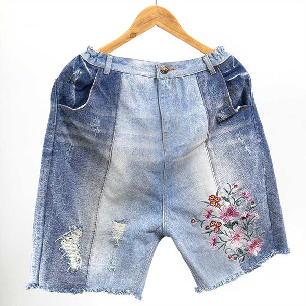 Women Casual Embroidered Denim Blue Short Pants