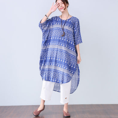 Irregular Ethnic Printing Elbow Sleeves Button Women Blue Dress - Buykud
