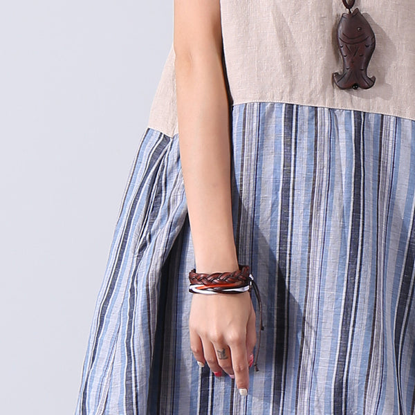 Color Matching Women Loose Casual Summer Linen Beige Stripe Dress - Buykud