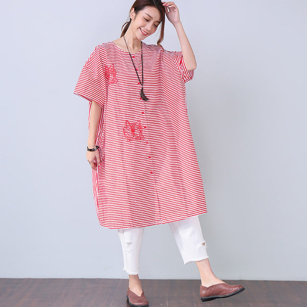 Cotton Stripe Women Embroidered Loose Long Shirt