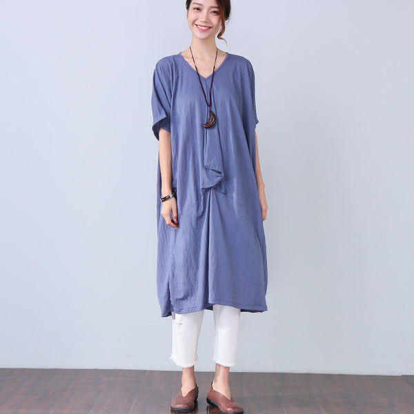 Women Casual Solid Splicing Loose Short Sleeve Blue Dress - Buykud