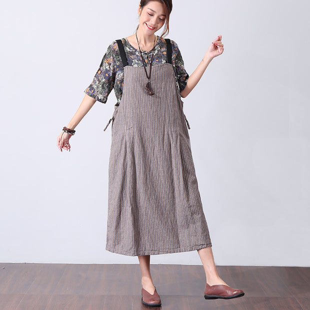 Casual Women Gray And Yellow Stripe Suspender Skirt - Buykud