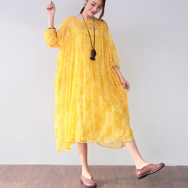 Chic Applique Three Quarter Sleeves Mid-calf Yellow Dress - Buykud
