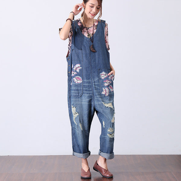 Chic Printing Holes Casual Women Denim Jumpsuit Pants - Buykud