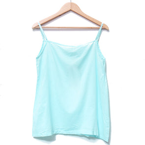 Simple Cotton Versatile Loose Women Light Blue Vest - Buykud