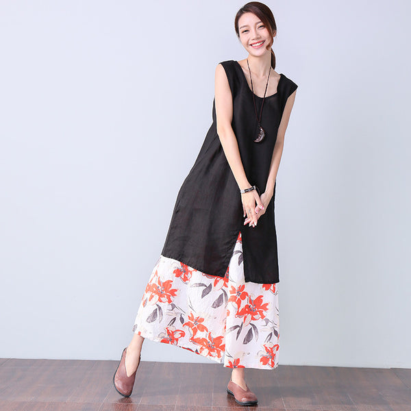 Casual Women Ramie Round Neck Sleeveless Splitting Loose Black Vest - Buykud