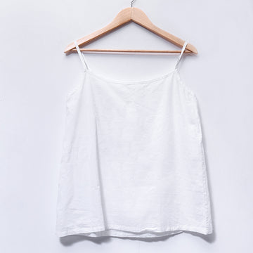 Simple Cotton Versatile Loose Women White Vest - Buykud