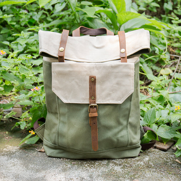 Portable Canvas Leather Buckled Zipper Green White Backpack