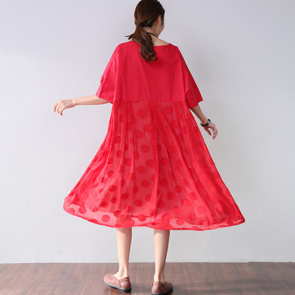 Fitted Lining Applique Elbow Sleeves Women Red Dress - Buykud