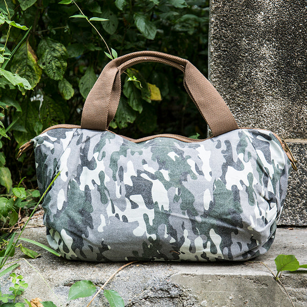 Camouflage Canvas Zipper Handbag Shoulder Bag Tote-Handle Bag - Buykud