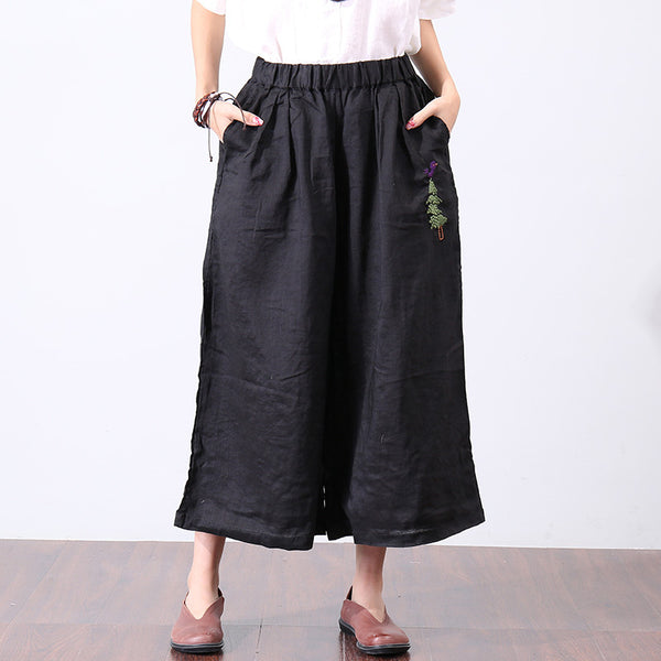Summer Women Embroidered Wide Leg Black Pants