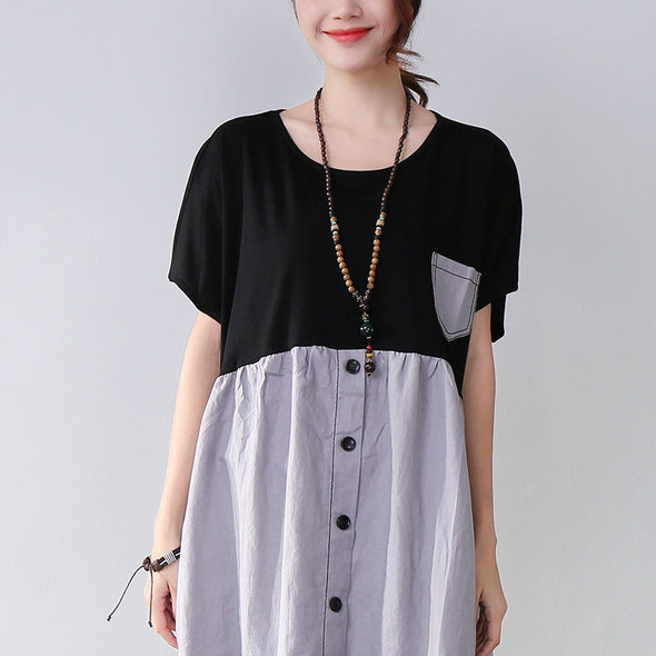 Summer Women Casual Splicing Loose Gray Dress - Buykud