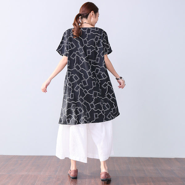 Stylish Women Printing Round Neck Short Sleeve Pocket Black Dress - Buykud