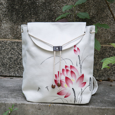 Women Casual Hand Painted White Backpack - Buykud