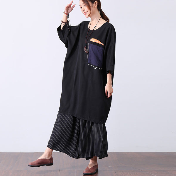 Casual Applique Round Neck Short Sleeve Loose Women Black Dress - Buykud