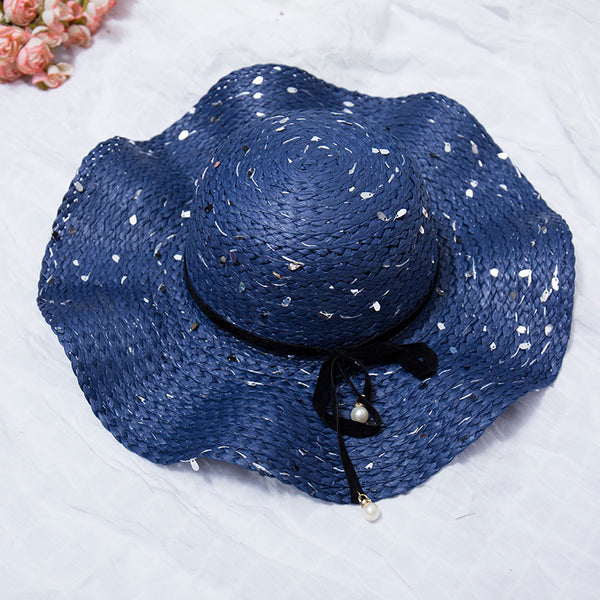 Casual Straw Women Summer Blue Hat