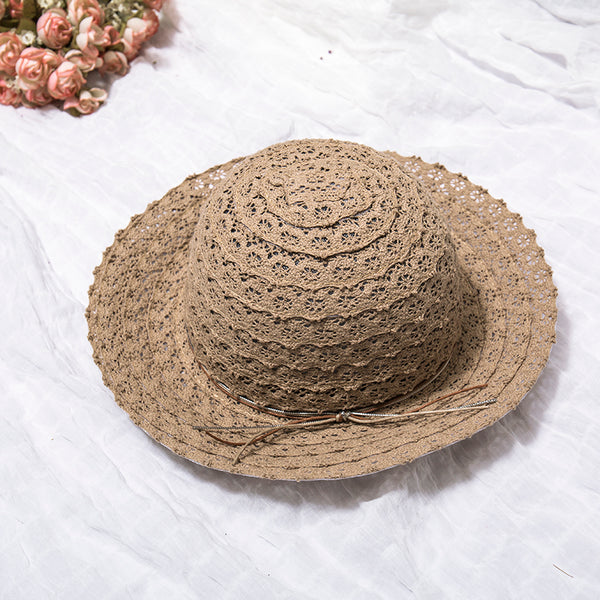 Elegant Hollow Foldable Women Summer Light Coffee Hat