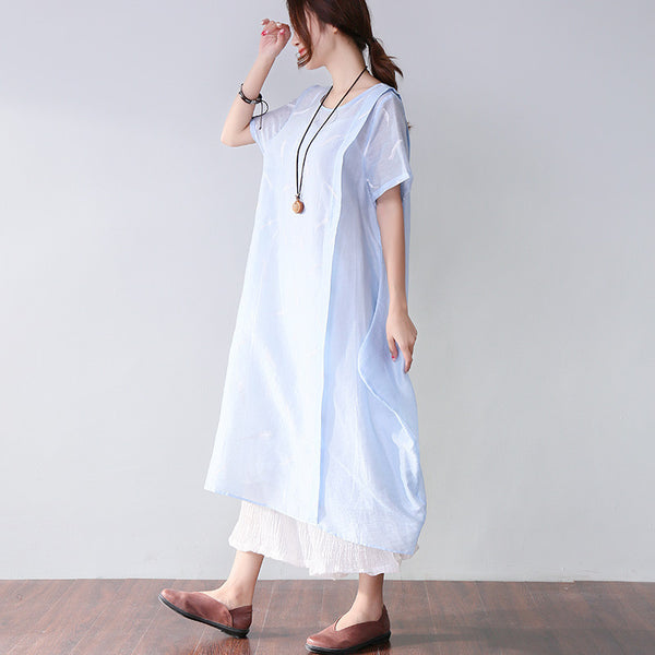 Printing Women Loose Summer Causal Linen Splicing Blue Dress - Buykud