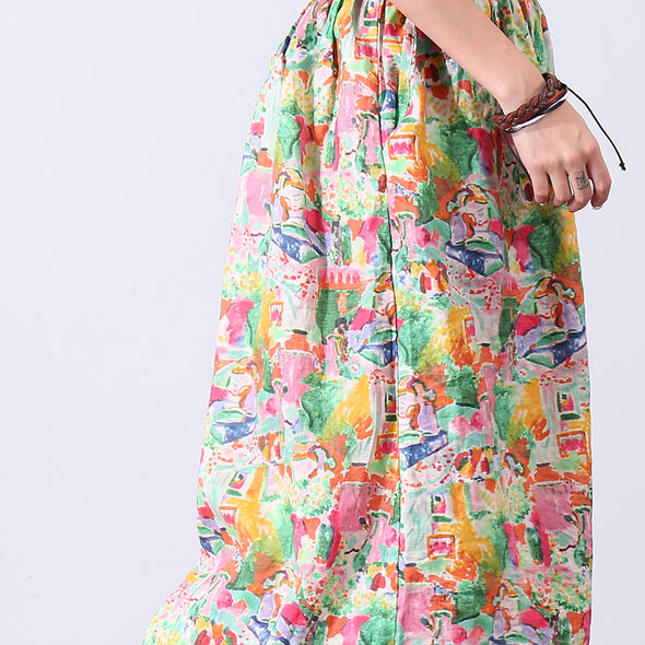 Loose Prinitng Cotton Linen Women Floral Pants - Buykud