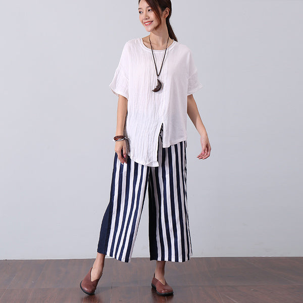 Women Summer Irregular Splitting Shoulder Sleeve White Shirt - Buykud
