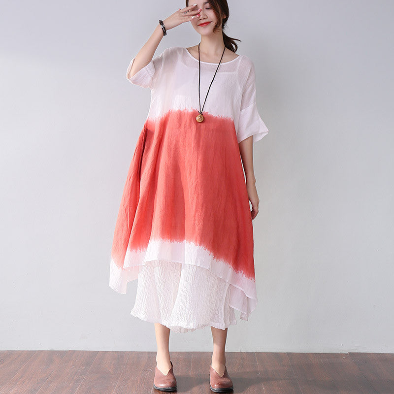 Women Summer Casual Loose Short Sleeve Red Dress - Buykud