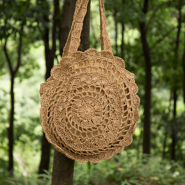Exquisite Retro Hollowed Round Straw Weaving Light Brown Bag - Buykud