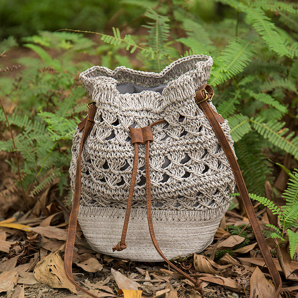 Summer Vocation Casual Women Gray Straw Messenger Bag - Buykud
