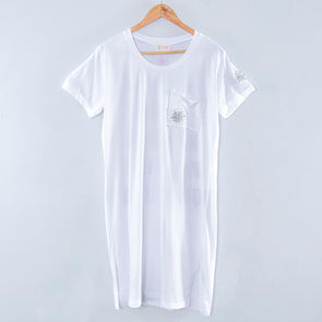 Cotton Polyester Round Neck Short Sleeves Slit White Women Dress - Buykud