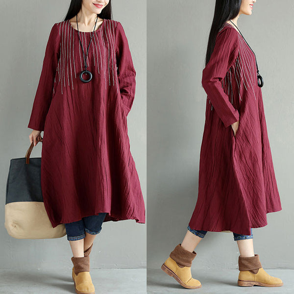 Stripe Women Casual Linen Loose Red Dress