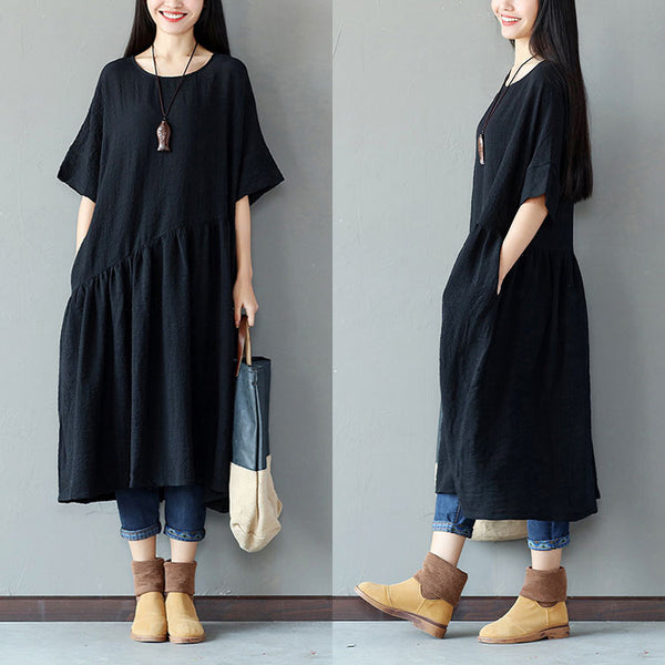 Casual Folded Loose Women Black Dress - Buykud