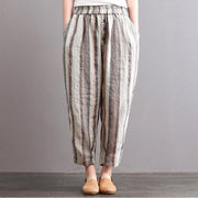 Cotton Linen Striped Casual Ankle-Length Harem Pants