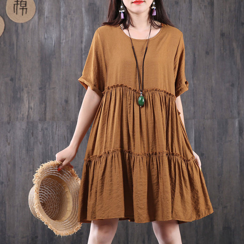 Women Splicing Loose Summer Cotton Linen Coffee Dress - Buykud