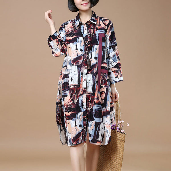 Women Retro Loose Printing Cotton Red Dress - Buykud
