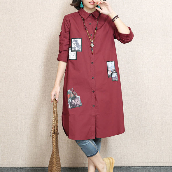 Spring Applique  Casual Dark Red  Shirt - Buykud
