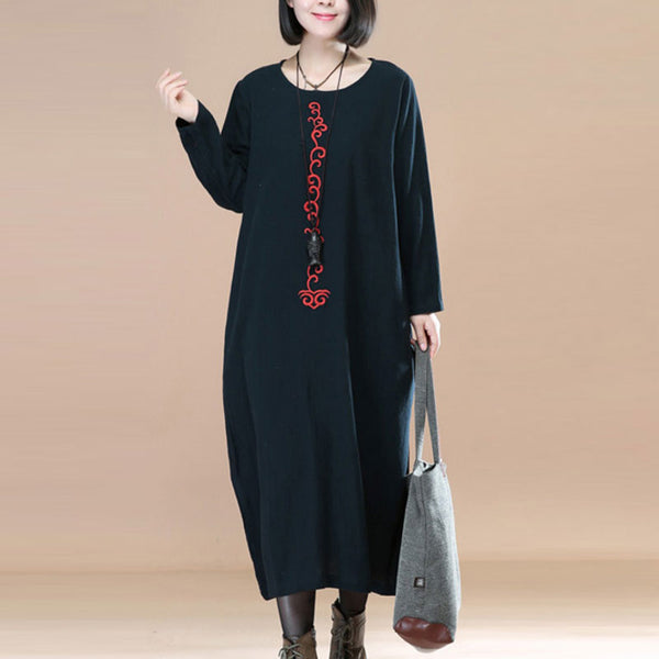 Literature Chic Embroidery Cotton Linen Long Sleeves Black Women Dress - Buykud