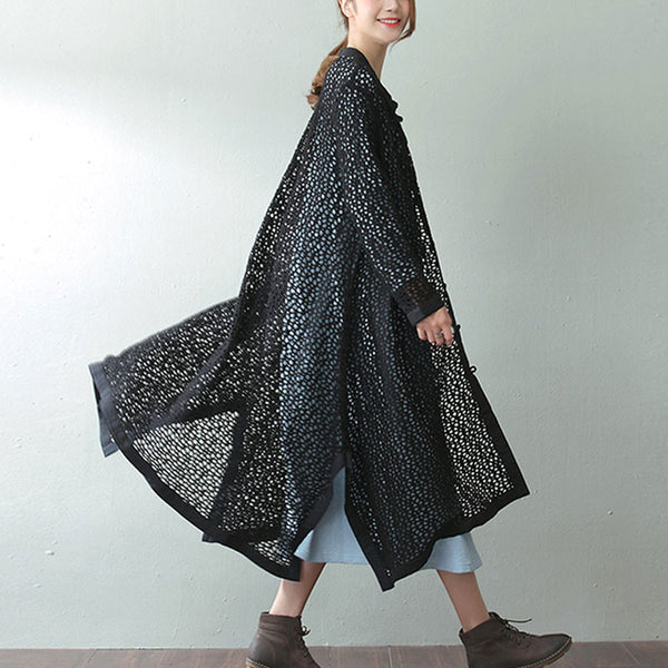 Spring And Autumn Hollow Frog Black Long Outerwear