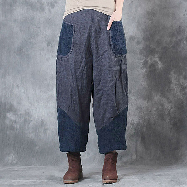 Casual Splicing Women Loose Spring Navy Blue Pants - Buykud