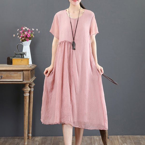 Short Sleeve Summer Retro Fake Two-piece Pink Dress