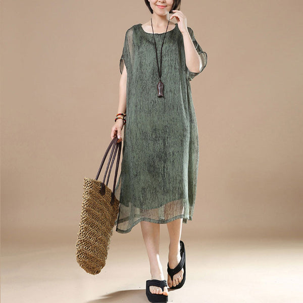 Cotton Irregular Loose Women Summer Green Dress