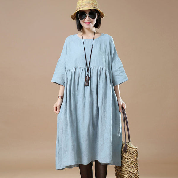 Cotton Linen Loose Women Round Neck Light Blue Dress