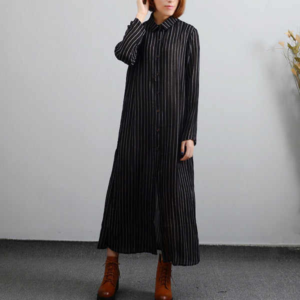 Single Breasted Cardigan Cotton Linen Black Dresses